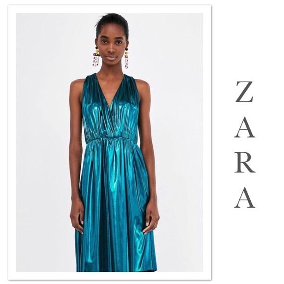a0267cf9 Zara Dresses   Metallic Flowing Dress Nwt   Poshmark